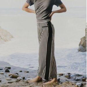 High Rise wide leg vertical striped pants